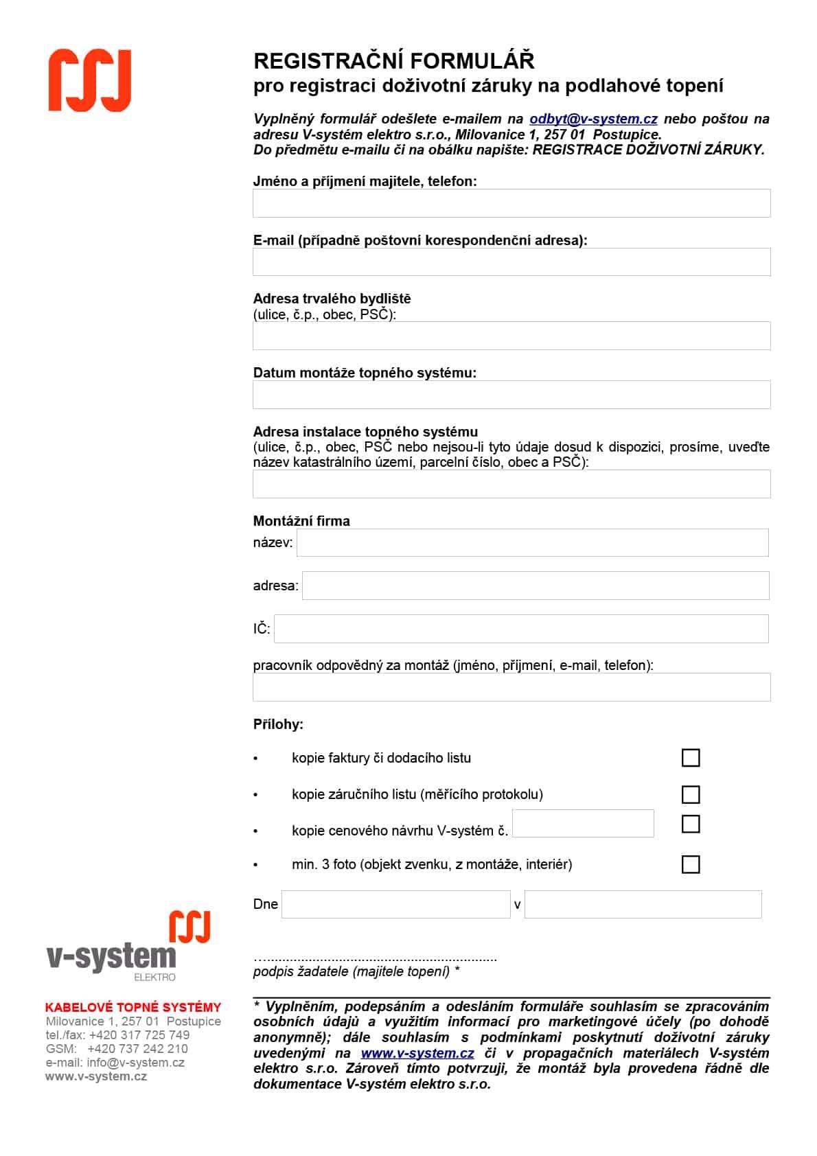 Doživotní záruka – formulář pro registraci
